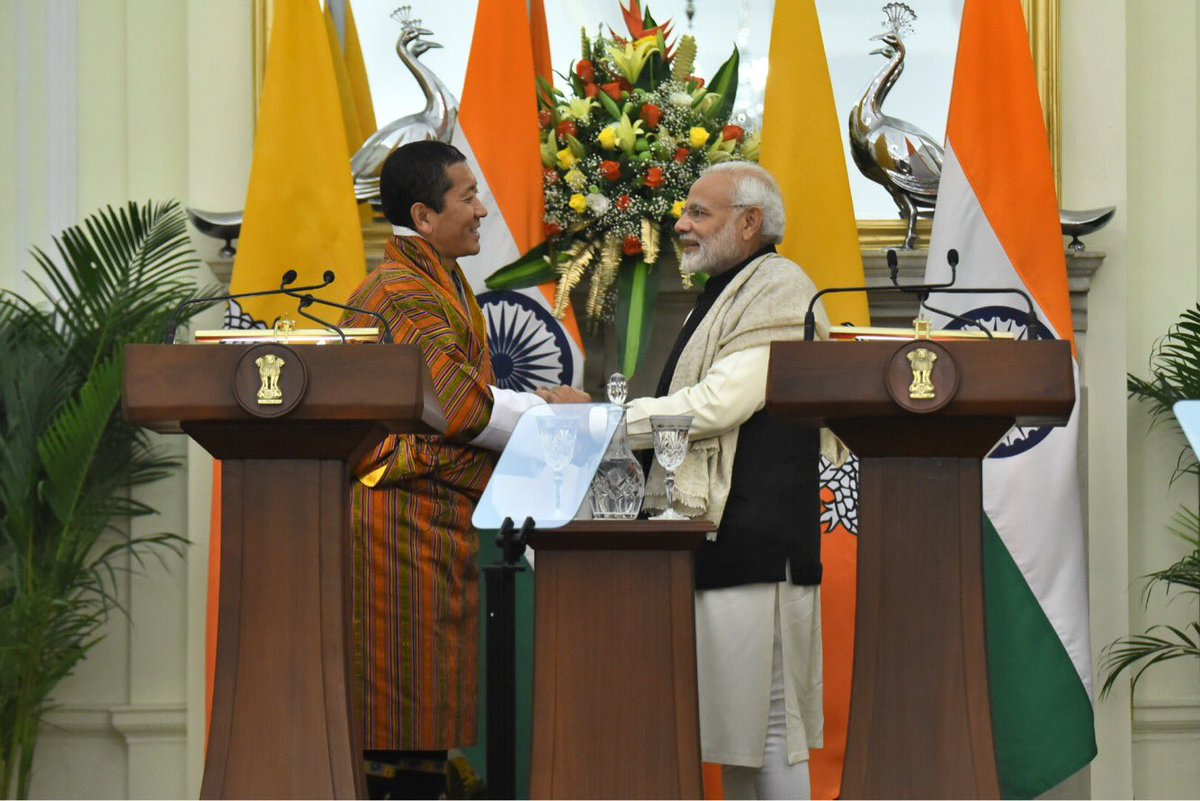 Prime Minister Narendra Modi and Bhutanese counterpart Lotay Tsherin