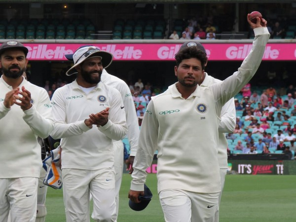 Kuldeep Yadav celebrating his five-for at the Sydney Cricket Ground