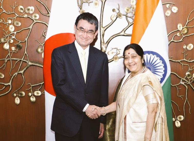 Minister of Foreign Affairs of Japan Taro Kono met with Sushma Swaraj