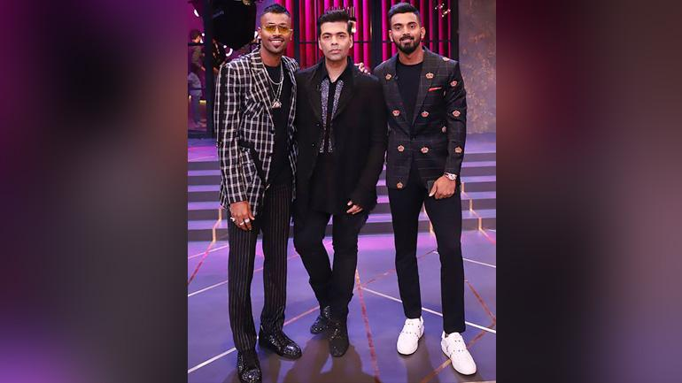 Cricketers Hardik Pandya and K L Rahul and filmmaker Karan Johar