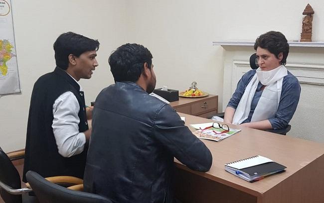 Priyanka Gandhi Vadra at the Congress Headquarters in Delhi