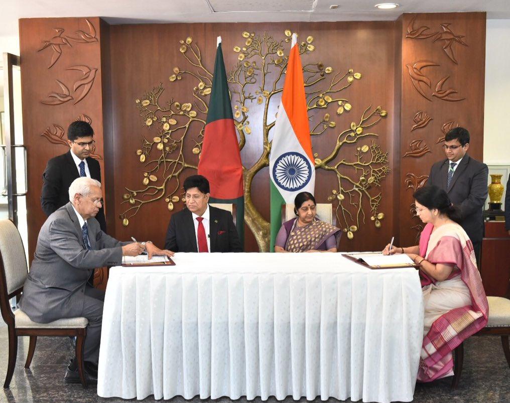External Affairs Minister (EAM) Sushma Swaraj and her Bangladeshi counterpart AK Abdul Momen