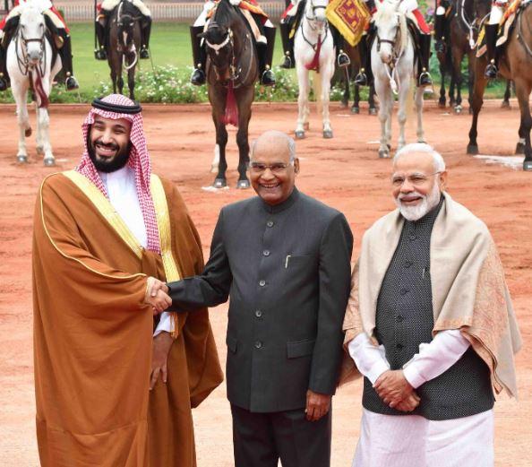 Saudi Crown Prince Mohammed-bin Salman/ President Ram Nath Kovind/ Prime Minister Narendra Modi