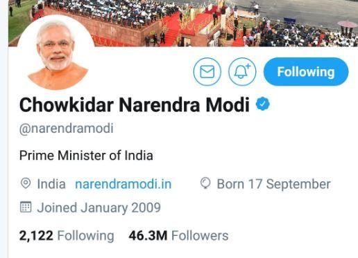 PM renames Twitter handle; top BJP leaders follow