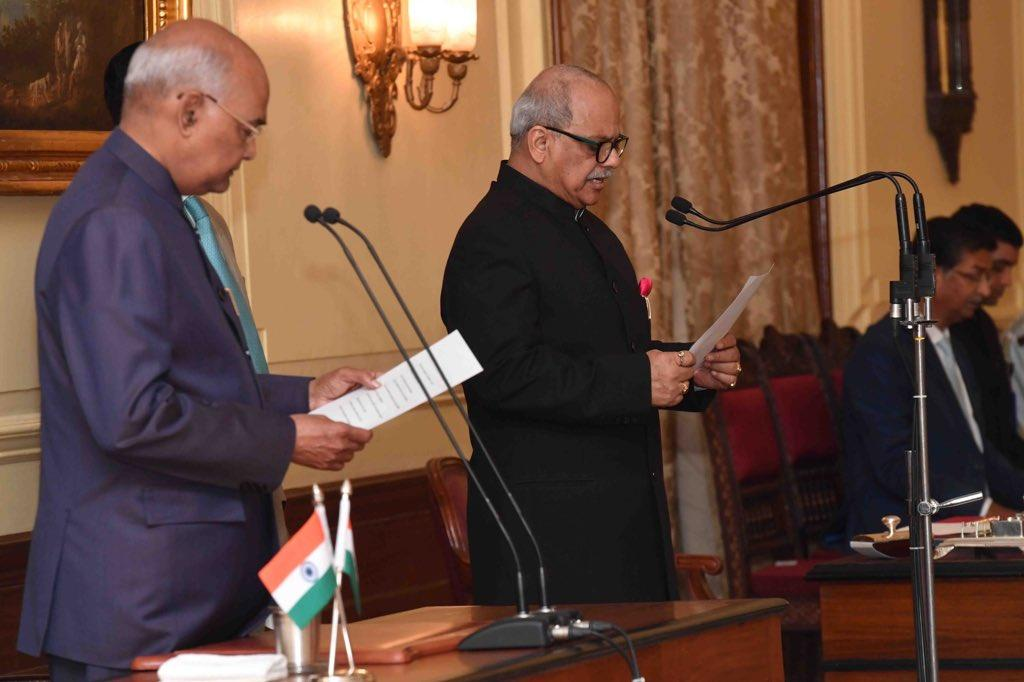 Justice Pinaki Ghose taking oath as Lokpal of India