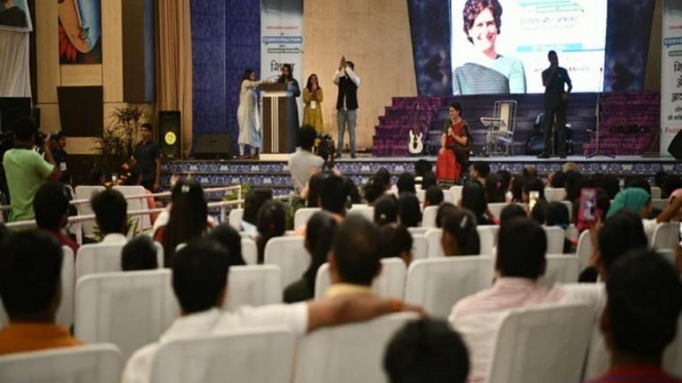 Priyanka Gandhi Vadra interacting with students