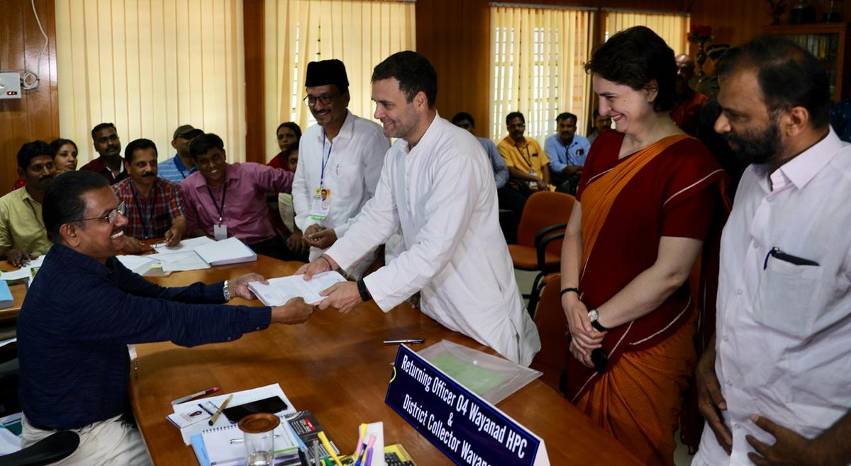 Congress president Rahul Gandhi filing nomination