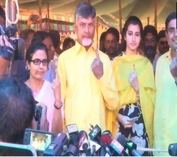 CM N Chandrababu Naidu, his wife Bhuvaneswari, son and IT minister Nara Lokesh with his wife in Mangalagiri, Andhra Pradesh
