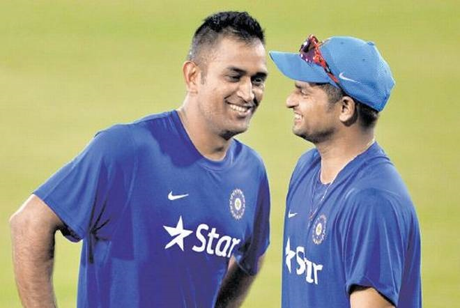 Suresh Raina with MS Dhoni