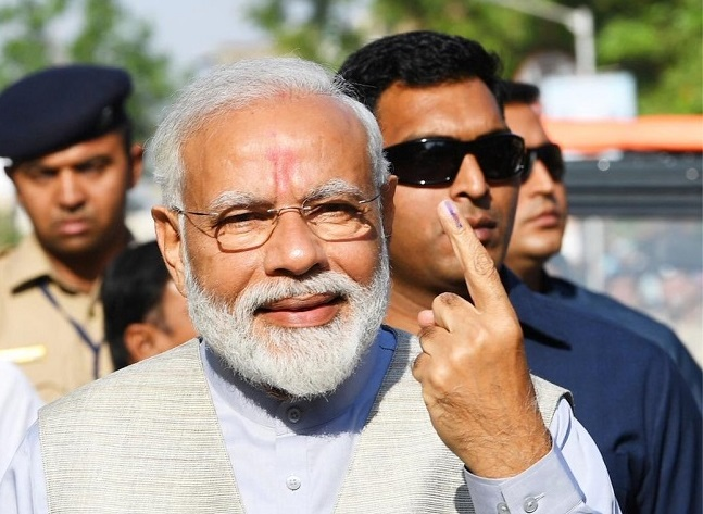 Prime Minister Narendra Modi after casting his vote