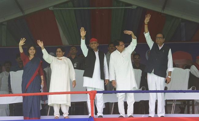 BSP Supremo Mayawati shares stage with SP President Akhilesh and MP Dimple Yadav