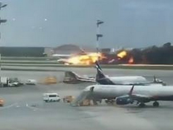 Massive fire broke out on a Russian passenger plane during an emergency landing