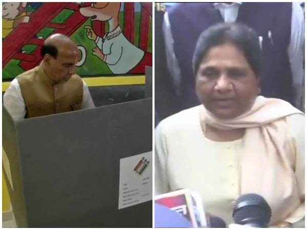 Rajnath Singh, Mayawati cast their votes at respective polling booths in Lucknow