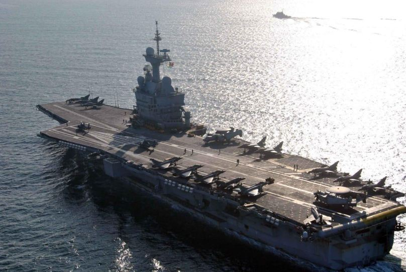 French aircraft carrier Charles de Gaulle sailing off Goa harbour