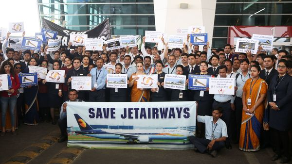 Jet Airways employees hold silent protest