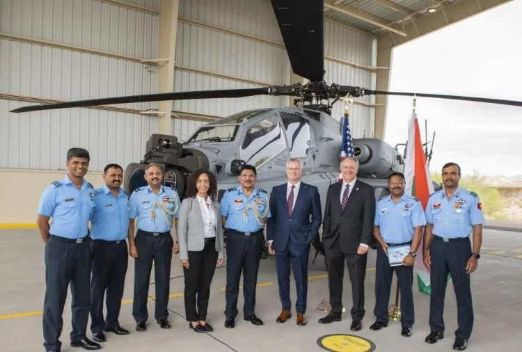 US aerospace major Boeing has handed over first of the 22 Apache Guardian attack helicopters