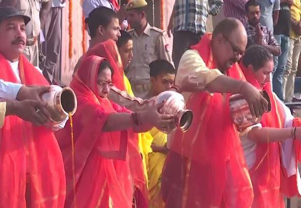 Devotees offering puja at the occasion of Ganga Saptami in Varanasi