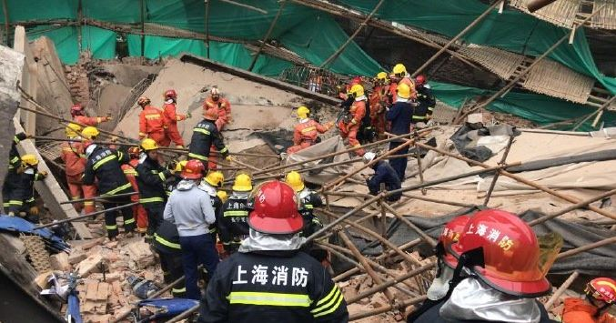 Site where a building collapsed, in Shanghai