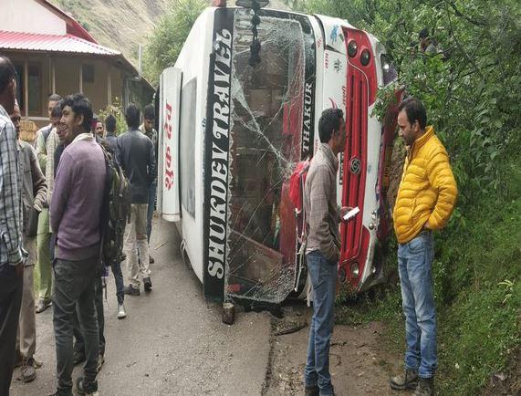 Seven injured after a bus carrying 45 BJP workers overturned at Nagni village in Banjar area of Kullu district
