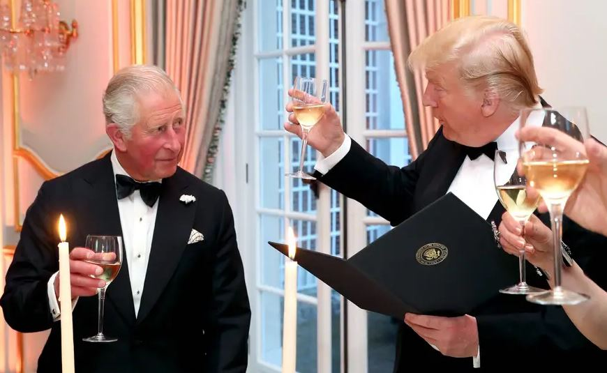 US President Donald Trump and Prince Charles at the residence of US' Ambassador to the United Kingdom