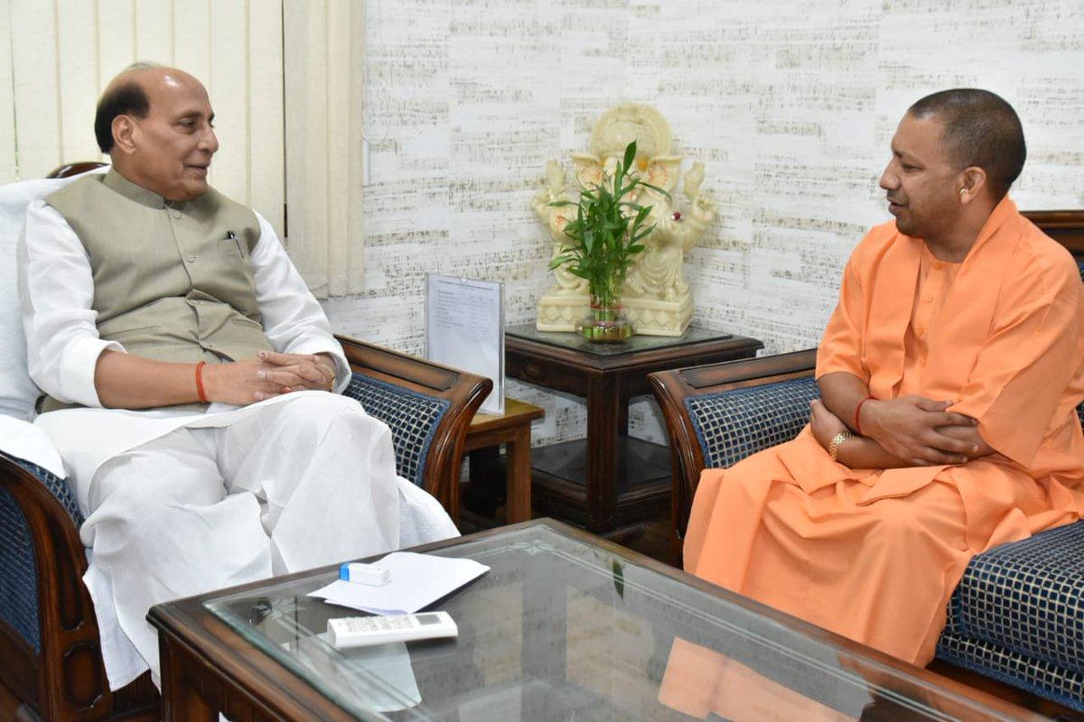 Uttar Pradesh Chief Minister Yogi Adityanath meets Defence Minister Rajnath Singh