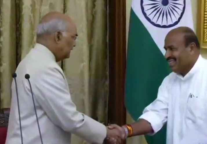 Former Union Minister and seven-time MP Virendra Kumar takes oath