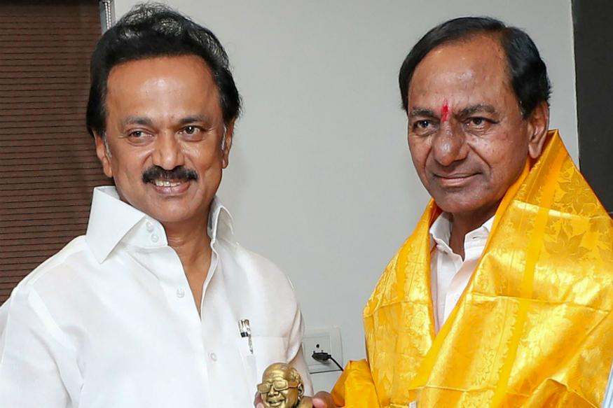 DMK president MK Stalin and TRS president K Chandrasekhar Rao