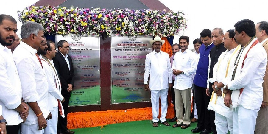 Maharashtra CM Devendra Fadnavis (left), Telangana CM K Chandrashekar Rao (middle) and AP CM YS Jagan Reddy (right) inaugurate Kaleshwaram Lift Irrigation project