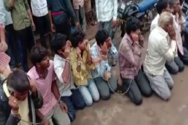 Villagers chained the cow smugglers