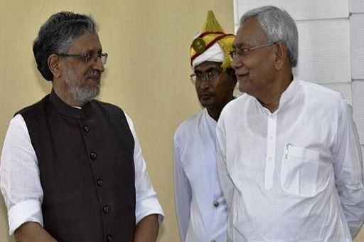 Bihar Chief Minister Nitish Kumar (right) with his deputy Sushil Kumar Modi, in Patna.