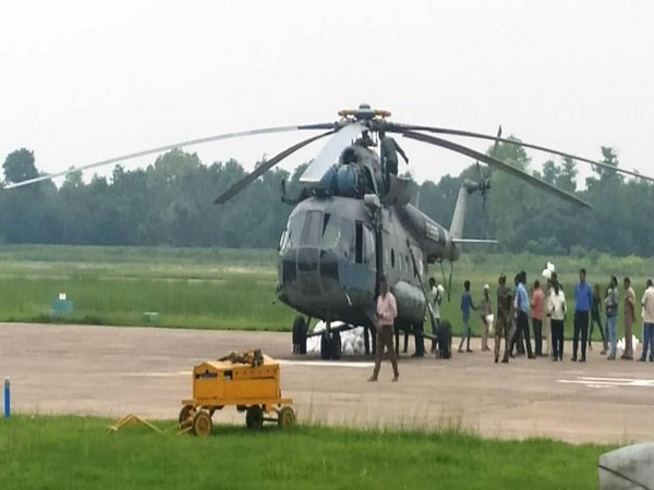 The Indian Air Force deploys two helicopters at Darbhanga to provide succour to flood-affected victims