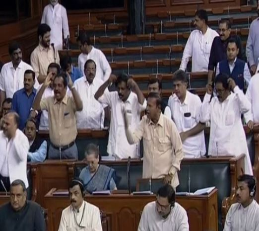 Opposition MPs continue to protest in Lok Sabha on Wednesday