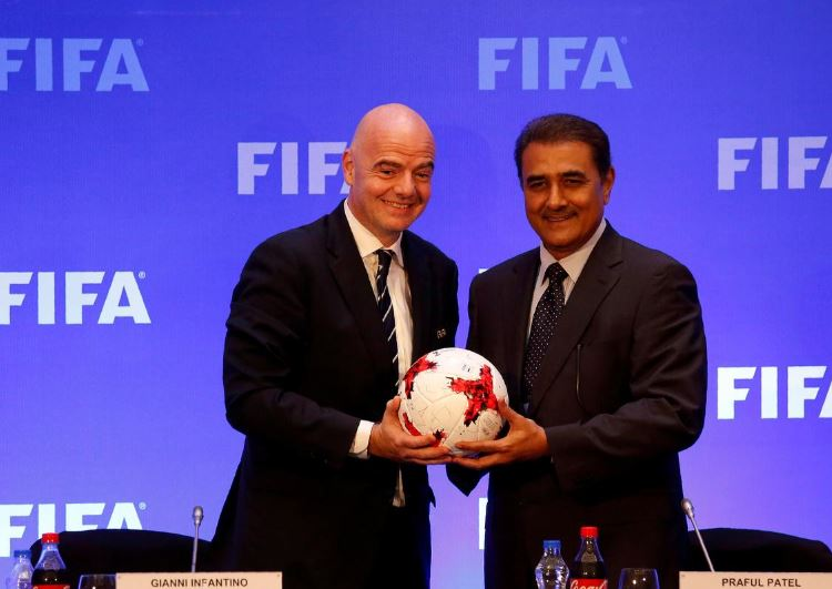 FIFA President Gianni Infantino and All India Football Federation (AIFF) President Praful Patel