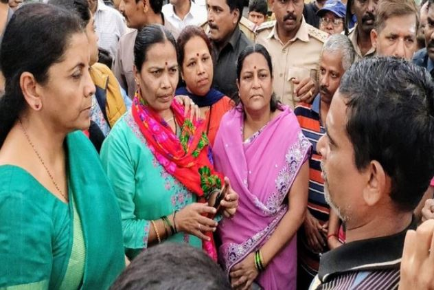 Union Finance Minister Nirmala Sitharaman visited the flood-affected areas in Belgaum