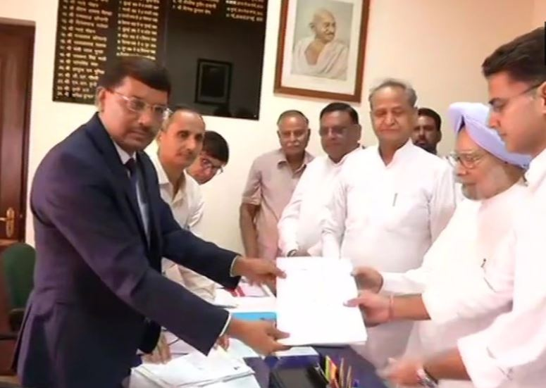 Senior Congress leader Manmohan Singh files his nomination papers for the by-poll to the Rajya Sabha from Rajasthan