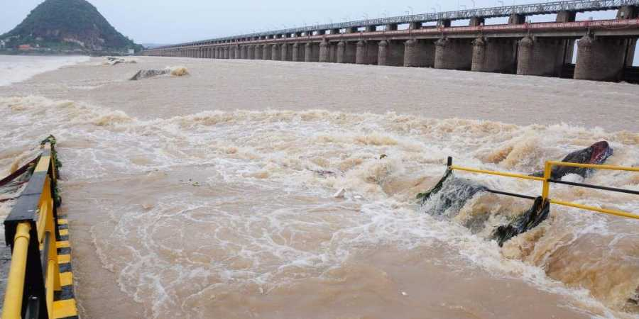 70 crest gates of prakasam barrage were lifted to discharge excess water on Wednesday