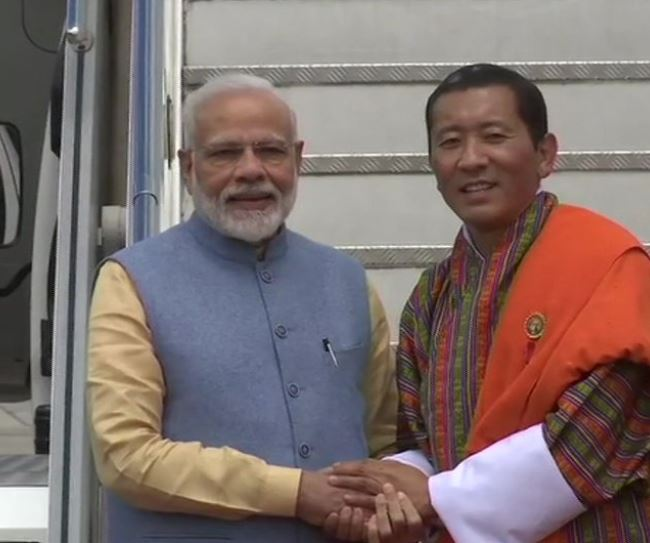 Prime Minister Narendra Modi and his his Bhutanese counterpart Dr Lotay Tshering