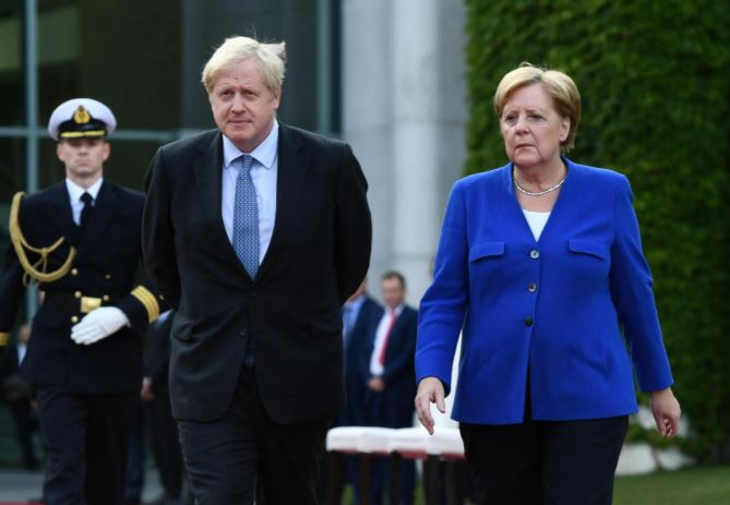 German Chancellor Angela Merkel and Britain's Prime Minister Boris Johnson