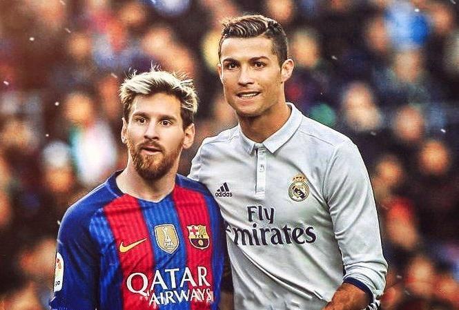 Cristiano Ronaldo with Lionel Messi
