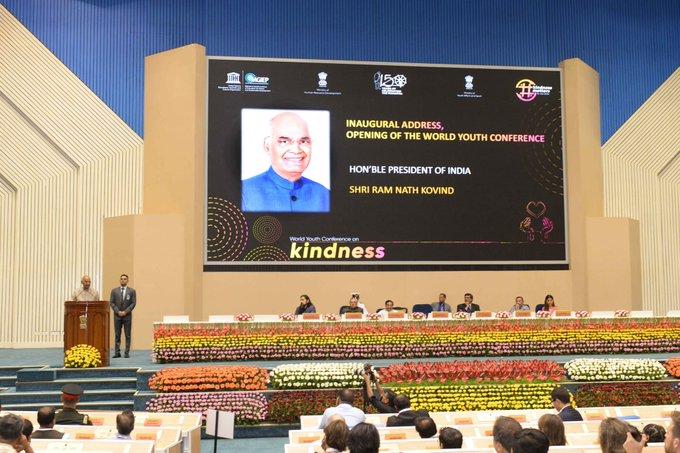President Ram Nath Kovind addressing World Youth Conference on Kindness