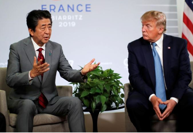 U.S. President Donald Trump and Prime Minister Shinzo Abe