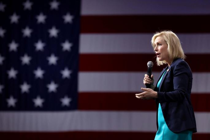 2020 Democratic U.S. presidential candidate and U.S. Senator Kirsten Gillibrand speaks during the Presidential Gun Sense Forum in Des Moines