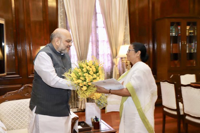 West Bengal Chief Minister Mamata Banerjee meets Union Home Minister Amit Shah
