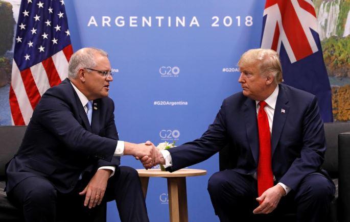 US President Donald Trump and  Australia's Prime Minister Scott Morrison