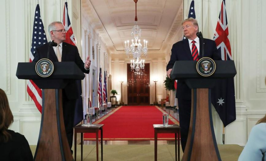 Australia's Prime Minister Scott Morrison speaks during a news conference with U.S. President Donald Trump