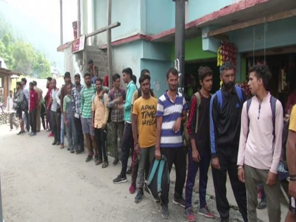 Candidates line up in the recruitment by the Indian Army here on Tuesday