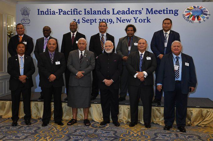 Prime Minister Narendra Modi at the India-Pacific Islands Leaders' Meeting in New York on Tuesday