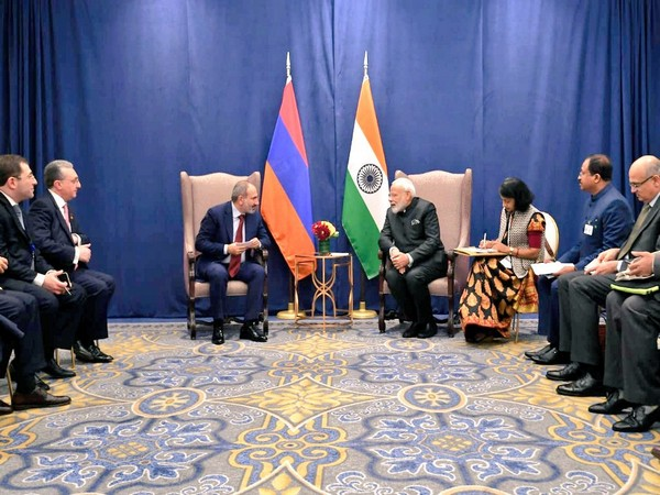 PM Modi and his Armenian counterpart Nikol Pashinyan during a meeting on the sidelines of UNGA in New York on Wednesday