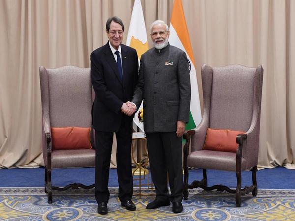 Prime Minister Narendra Modi  and Cyprus President Nicos Anastasiades