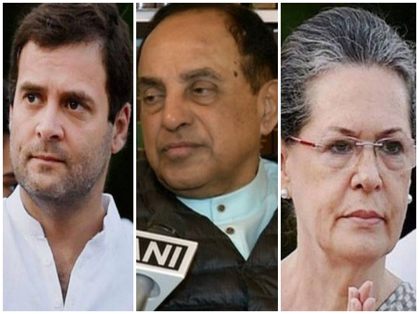Congress leader Rahul Gandhi (left), BJP leader Subramanian Swamy (middle) and Congress President Sonia Gandhi